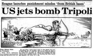 US bombing of Libya in 1986. press archive