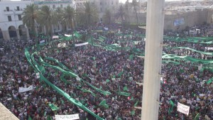 Libya: pro Gaddafi rally, 2011