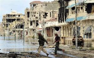 Bombed neighbourhoods in Sirte, Libya