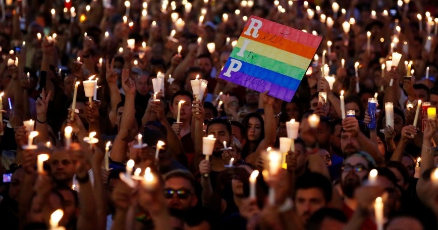 LGBT community mourning Orlando nightclub shooting victims, 2016