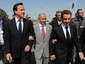 David Cameron, Nicolas Sarkosy in Benghazi, Libya, 2011