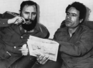 Muammar Gaddafi meets Fidel Castro