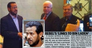Islamist terrorist Abdel Hakim Belhadj, pictured with Senator John McCain