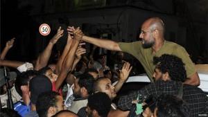 Saif al-Islam Gaddafi with supporters in Tripoli, Libya, 2011