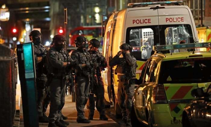 Armed police during London borough market terror attacks, June 3rd 2017