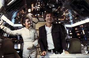 Harrison Ford and Carrie Fisher in Empire Strikes Back
