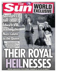 The Sun frontpage: Royal Family Nazi salutes