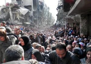(AP Photo/UNRWA) Syrian refugees fleeing Yarmouk
