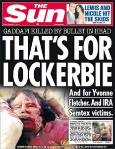 British newspaper headline on Death of Muammar Gaddafi