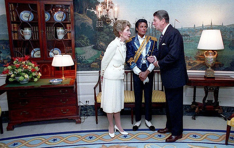 Michael Jackson with Ronald Reagan and Nancy Reagan