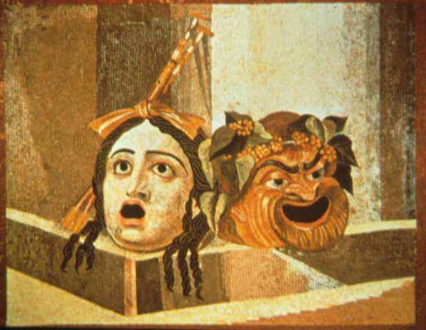 Painting of Roman mosaic masks