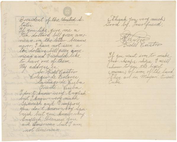 Fidel Castro's handwritten letter to President Roosevelt