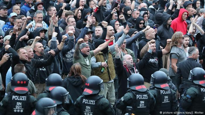 Nazis salute in Chemnitz, Germany, 2018