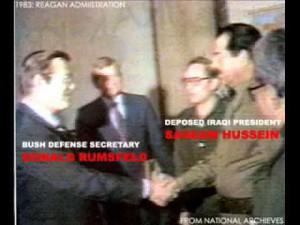 Saddam Hussein meeting Donald Rumsfeld