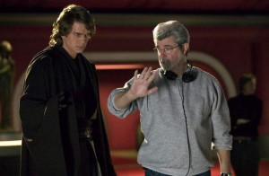 George Lucas directs Hayden Christensen in Revenge of the Sith