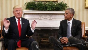 Donald Trump and Barack Obama in Whitehouse
