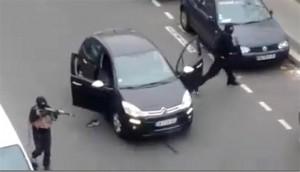 Masked gunmen attacking Charlie Hebdo office in Paris, 2015