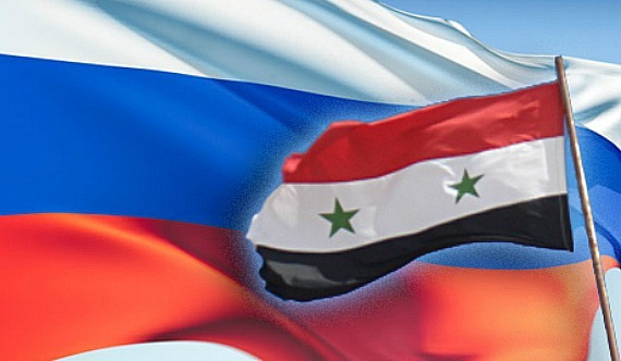 Russia and Syria flags