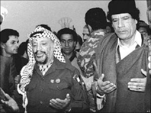 Muammar Gaddafi and Yasser Arafat