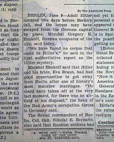 Newspaper article on Adolf Hitler's death
