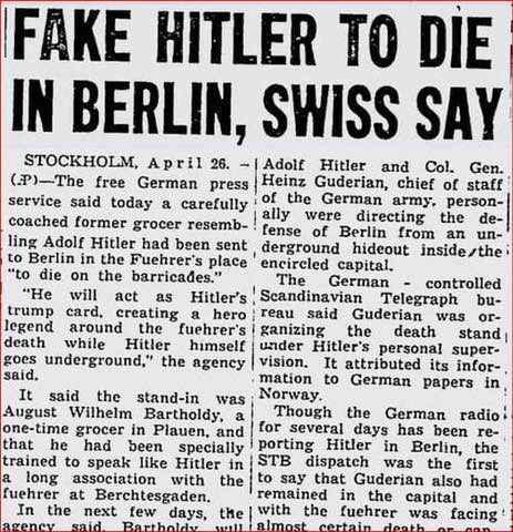 Newspaper article says Adolf Hitler survived the war