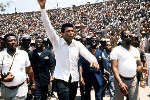 Muhammad Ali marching in Zaire; When We Were Kings