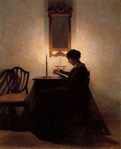 Woman reading by candlelight, by Peter Illsted