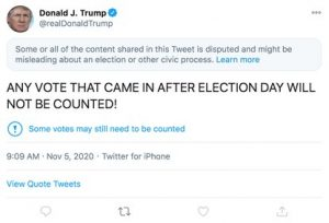 Donald Trump tweets about election fraud